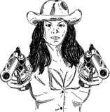 Desperado girl. Vector - Desperado Girl with guns isolated on background Royalty Free Stock Photography