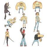 Desperado'sreeks Geschetste Illustraties van de Strippaginastijl stock illustratie