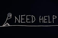 Desperat appell för hjälp, person som behöver hjälp, ovanligt begrepp Arkivbilder