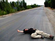 desperat hitchhiker Arkivfoton