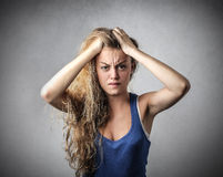 desperat kvinna Arkivfoton