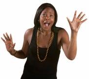 Desperat kvinna med händer upp Arkivfoton