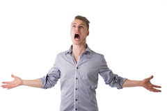 Desperate, angry young man screaming Royalty Free Stock Photography
