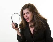 Desperate associate in Call Center Stock Image