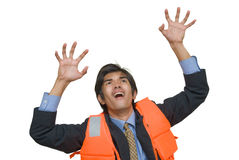 Desperate banker in life jacket Royalty Free Stock Photo
