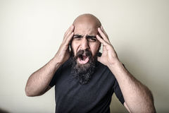 Desperate bearded man  Royalty Free Stock Photography
