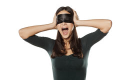 Desperate and blindfolded Stock Image