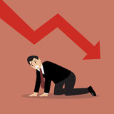 Desperate businessman with graph down. Business concept Stock Photography