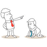 Desperate businessman on his knees fired by boss. Vector illustration of a monochrome cartoon character: Desperate businessman on his knees getting fired by his Royalty Free Stock Image