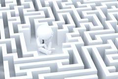 A desperate businessman in a maze Stock Photos