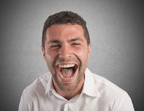 Desperate businessman screams Stock Photos