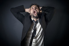 Desperate businessman shouting Stock Photography