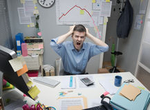 Desperate businessman shouting Stock Photography
