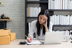 Desperate businesswoman worried. In office royalty free stock photos