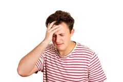 Desperate crying man with hand in hair. emotional man isolated on white background.  royalty free stock photos