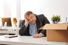 Desperate dismissed man not knowing what to do stock photo