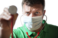 Desperate Doctor with stethoscope Royalty Free Stock Images