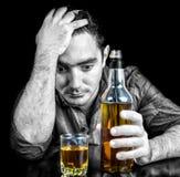 Desperate Drunk Hispanic Man Drinking