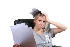 Desperate girl sitting in chair Royalty Free Stock Photo