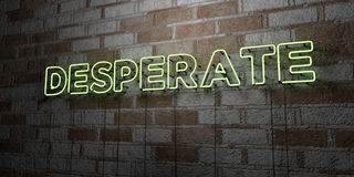 DESPERATE - Glowing Neon Sign on stonework wall - 3D rendered royalty free stock illustration. Can be used for online banner ads and direct mailers Stock Photo