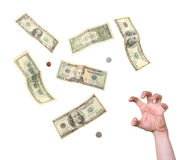 Desperate greedy hand reaching for money Royalty Free Stock Photo