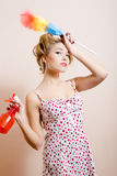 Desperate housewife with spray Royalty Free Stock Photos