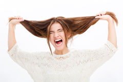 Desperate hysterical shouting young woman in black clothes Royalty Free Stock Photos