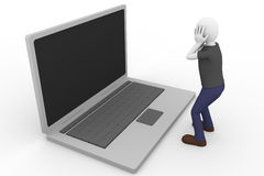 Desperate laptop. A desperate man is holding his head with the hands watching a laptop Stock Image