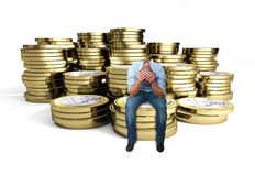 Desperate man on 3d euro. Desperate man on euro 3d coin background Royalty Free Stock Photos