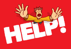 Desperate man crying for help. Cartoon illustration of man begging for help with open hands Royalty Free Stock Image