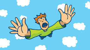 Desperate man free falling from sky Stock Images