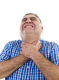 Desperate man with nervous breakdown. Desperate man having a breakdown portrait, strangling himself with both hands, close up, isolated on white, studio shoot Royalty Free Stock Photos