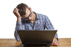 Desperate Man sitting at the Computer Stock Image