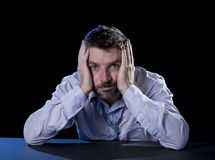 Desperate man suffering emotional pain, grief and deep depression Stock Photos