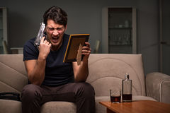 The desperate man thinking of suicide Stock Images