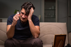 The desperate man thinking of suicide Royalty Free Stock Images