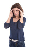 Desperate older isolated woman or headache. Royalty Free Stock Photo