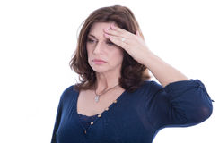 Desperate older isolated woman or headache. Royalty Free Stock Photos