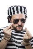 Desperate, portrait of a man prisoner in prison Stock Photography