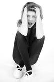 Desperate sad girl shouting depressed royalty free stock images
