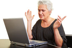 Desperate senior woman Royalty Free Stock Images