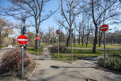 No entry signs (stop) everywhere Royalty Free Stock Image