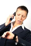 Desperate and stressed woman with a phone Royalty Free Stock Photo