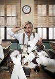 Desperate vintage accountant at desk Stock Photos