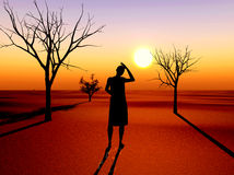 Desperate woman. Drought as the result of global warming and climate changes Stock Photography
