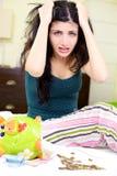 Desperate woman about economical crisis depression finance Stock Photo