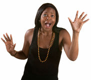 Desperate Woman with Hands Up. Desperate young black woman with open hands over white background Stock Photos