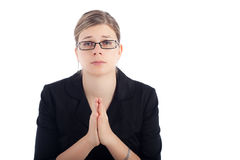 Desperate woman pray Stock Photo