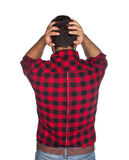 Desperate worker with plaid shirt Royalty Free Stock Photography