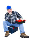 Desperate worker thinking about ideas. White background Royalty Free Stock Image